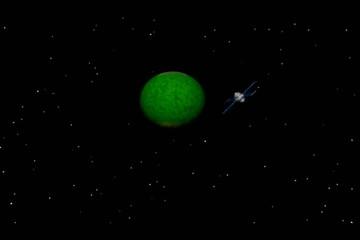Communications satellite orbiting planet