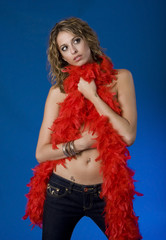 Pretty Young Woman With Red Boa