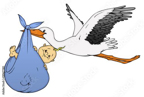 Illustration baby klapperstorch geburt schwanger schwangerschaft
