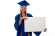 Teen girl in graduation gown holding an blank sign