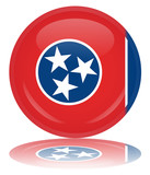 Tennessee Flag Round Web Button (Tenessee USA Vector Reflection)