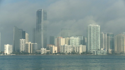 Miami skyline in the morning mist - time lapse