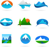 Collection of mountain related icons