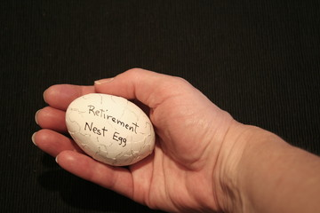 Retirement nest egg in hand