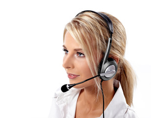 Customer Service Operator-Isolated over a White Background