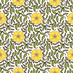 Seamless Floral Pattern Orange and Green
