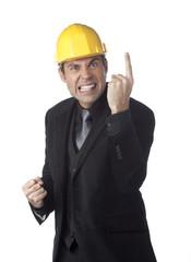 homme d'affaire casque sécurité index mise en garde