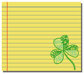 Hand drawn shamrock on yellow note paper