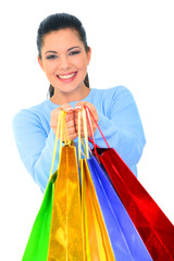 Happy Girl Offer Shopping Bags