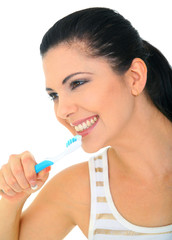 Healthy Young Woman Brushing Teeth