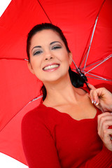 Woman Cover With Umbrella