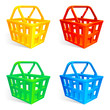 Set of 4 empty shopping baskets.