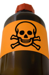 Pharmaceutical bottle with warning symbol