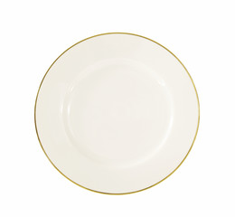 elegant white with gold rim dinner plate