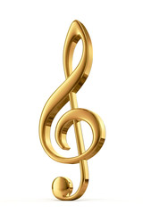 Golden treble clef - 3d render