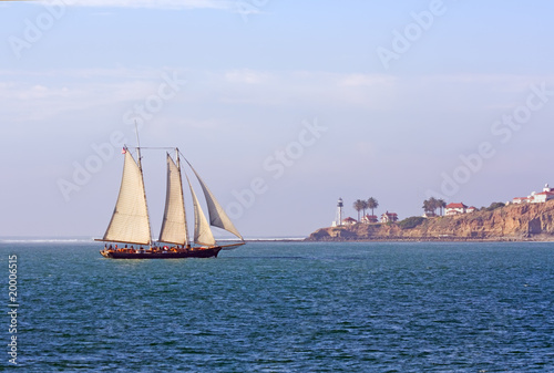 Schooner sails past Point Loma near San Diego, California