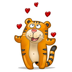 Fun tiger in love