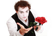 mime holding  rose , Valentine's day concept