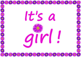 """It's a girl !"" Card (Birth Baby Flowers Blue Family New Vector)"