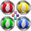 Hand grenade icon on round colorful vector buttons