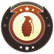Hand grenade icon on round imperial vector button
