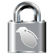 Hand grenade icon on secure vector lock button