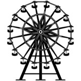 Amusement park ride ferris wheel in vector silhouette