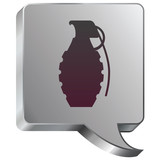 Hand grenade icon on stainless steel industrial voice bubble poster