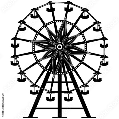 Amusement park ride ferris wheel in vector silhouette - 20009130