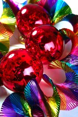 Christmas red shiny balls colorful background