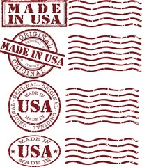 Vector made in usa stamp with red ink