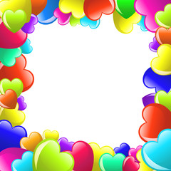 Frame of colorful  cartoon heart on white background