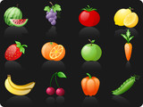 Fruit and  Vegetables_black background