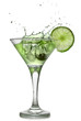 Green alchohol cocktail with splash and green lime
