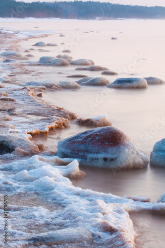 Stones in sea, winter time