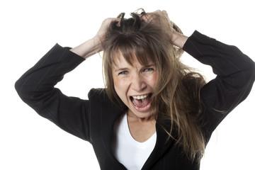 femme business cri de colère enervement