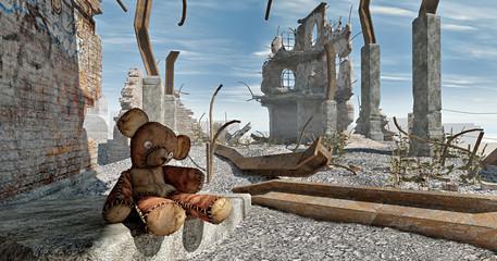 verlassener teddybär in ruinen
