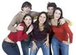 groupe de cinq jeunes joie de vivre
