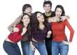 groupe de jeunes heureux fête