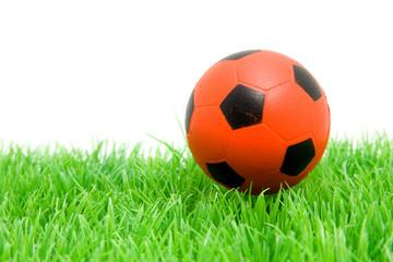 Orange soccer ball on grass