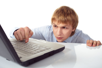Young man with laptop.