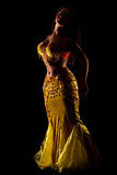 beautiful Bellydancer in golden costume, low key