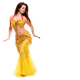 Bellydancer with white costume in motion