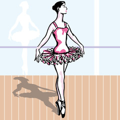 Ballet. young woman dancing classic vector illustration