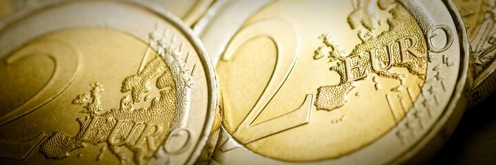 pièces de 2 euros - Monnaie européenne bannière horizontale