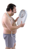 Overweight man with the weight scale poster