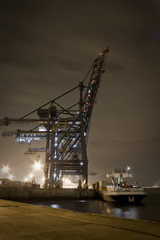 A shipyard during night shift