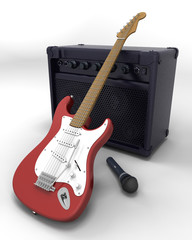 Electric guitar, speaker and microphone