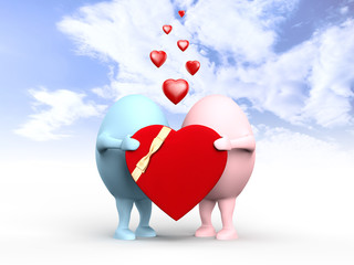 Cute Couple of Egghead Characters with a Valentine