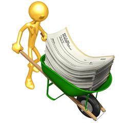 Gold Guy Carrying Blank Checks In A Wheelbarrow